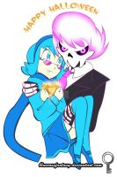 Happy Halloween! Mystery skulls ghost Vivi x Lewis by bluerosefantasy