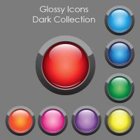 Glossy Button Icons Dark Collection by SoftPurple