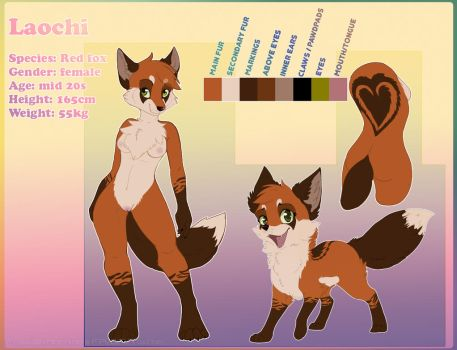 Reference sheet: Fox Laochi by FossilExMachina