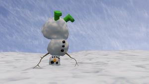 Snowman standing on head 2010 by TheBigDaveC