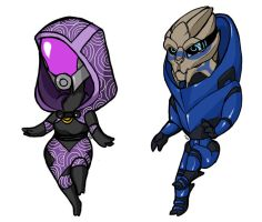 Tali and Garrus by erli
