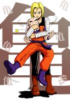 Commission for DYEDEKYU, Android 18 + Krillin by ToniBabelony