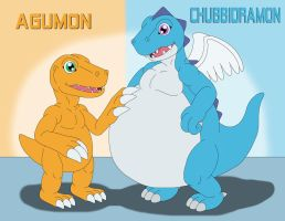 Agumon and Chubbidramon by MCsaurus