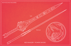 Red Ranger Power Sword Blueprints by BobRosland