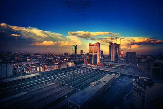 Milan at sunset. ... by light-from-Emirates