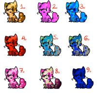 Colourful cat adopts (open) by MiriMonkey