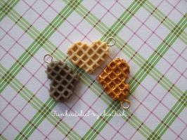 Heart Waffle Charms 1, 2 and 3 - Vanil, Choc, Gold by FunkadelicPsychoFish