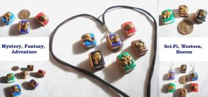 Genre-Themed Book Polymer Clay Charms by Saru-Hime