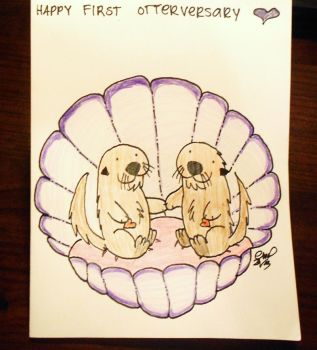 Happy first otterversary to my hubby otter by Lutrasaura