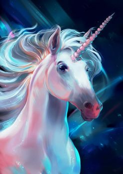 Unicorn Portrait by Mellodee