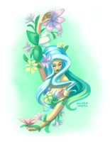 flowers and a girl by poplarleaves