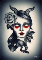 devil girl tattoo flash by oldSkullLovebyMW
