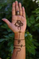 ~Antique jewelry inspired henna tattoo serpent~ by Emeraldserpenthenna