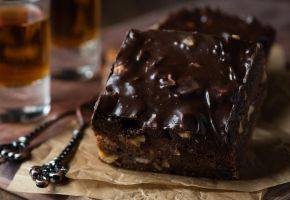 Homemade chocolate brownies with nuts and ganache by BeKaphoto