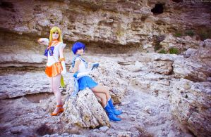 Sailor Venus and Sailor Mercury by LoveSenshi
