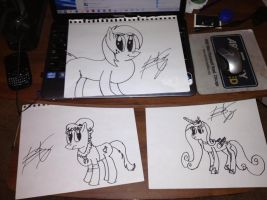 3 Ink Sketches~ by TheBlackmanBrony
