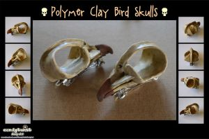 Polymer Clay Bird Skull Hair Clips by Dabstar