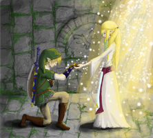 Zelda and her Chosen Hero by vixashely