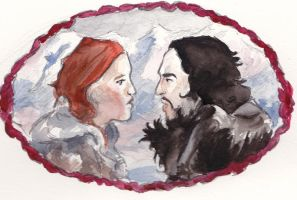 Jon Snow And Ygritte by inkwaif