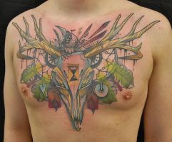 Tattoo Deerhead and Crow by jukan6