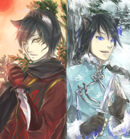 Cats of Summer and Winter by Usakan