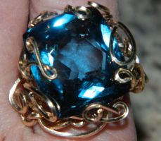 Commissioned ring w blue gem by DPBJewelry