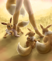 Heel Nipping (Eevee TF) by Mewscaper