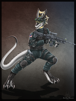 Anthro Wyvern Soldier by DrakainaQueen
