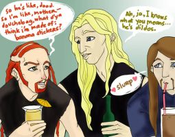 doodleklok: gossiping drunks by kinamoteng-kahoy