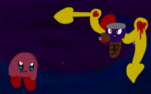 old drawing - kirby vs marx by dragonsweater