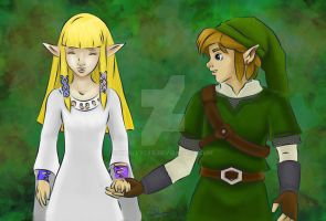 Link and Zelda by xxally7xx