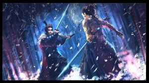 Samurai clash in snow by Chenzan