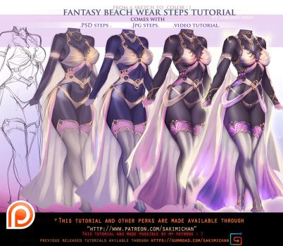 Fantasy Swim Wear steps tutorial pack .promo. by sakimichan