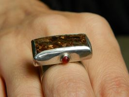 Earth Spirit large silver ring with fine bronzite by YANKA-arts-n-crafts