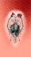 Vampire Skull with Roses by D-Angeline