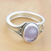 Spoon Ring with Light Amethyst by metalsmitten