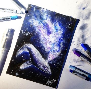 blue whale in Space by DeliaSullivan