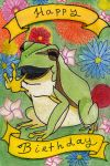 Birthdaycard Frog and Flowers - English by DarkMysteryCat