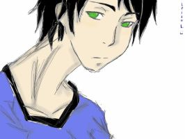 A guy with green eyes by tsuki-leo