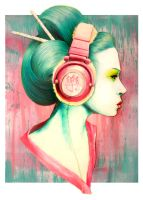 Geisha Headphones by pinkbutterflyofdeath