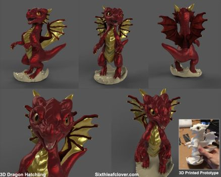 3D Dragon Hatchling by The-SixthLeafClover