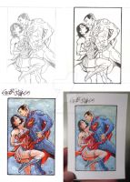 Superman and Wonder Woman (card) by GlauberMatos