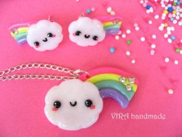 Kawaii clouds with rainbows by virahandmade
