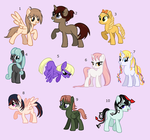 ponies based off anime chars - point adoptables by Rain-Approves