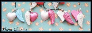 Angel Wing Phone Charms by softbluecries