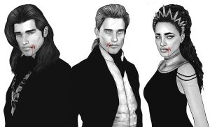 Louis, Lestat and Akasha by LathronAniron