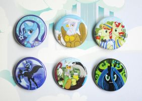 My Little Pony Villain and Antagonist Button Set by pookat