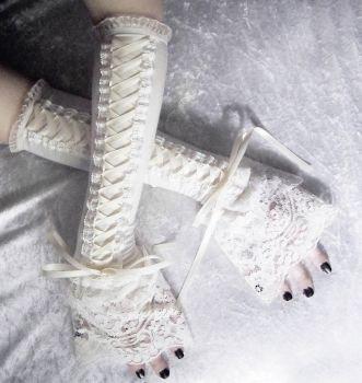 Ivory Towers Victorian Corset Laced Up Arm Warmers by ZenAndCoffee
