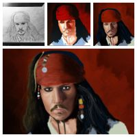 Jack Sparrow Sketch to 1/2 way point by ArtiztiCreationZ