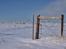 snowy fence 1 by fotophi